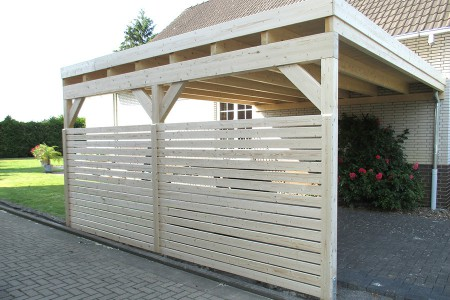 carport mit flachdach aus holz wandanbau online bestellen. Black Bedroom Furniture Sets. Home Design Ideas