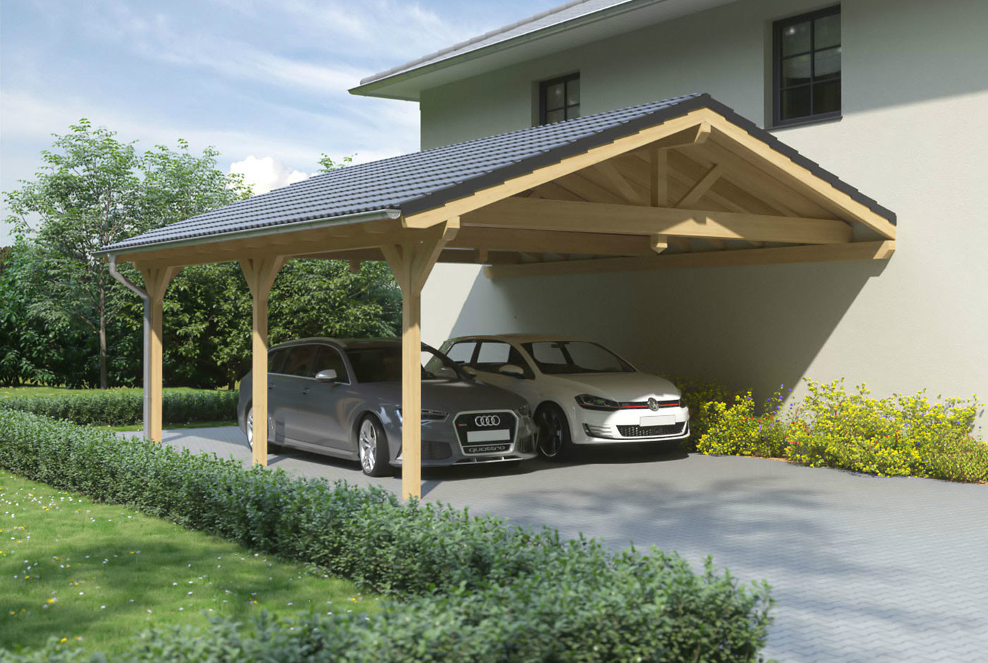 carport mit satteldach aus holz wandanbau online bestellen. Black Bedroom Furniture Sets. Home Design Ideas